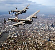 Two Lancasters over London by Gary Eason + Flight Artworks