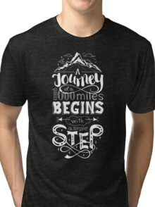 typographical, lettring quote journey, black and white Tri-blend T-Shirt