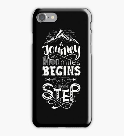typographical, lettring quote journey, black and white iPhone Case/Skin