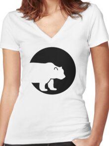 Bear moon Women's Fitted V-Neck T-Shirt