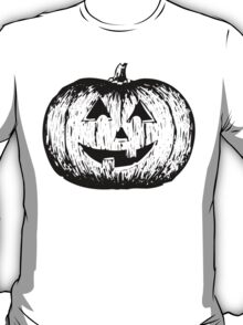 Black and White Pumpkin Illustration T-Shirt