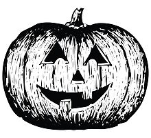 Black and White Pumpkin Illustration by cartoon