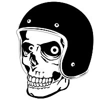 Skull with Helmet - Safety First! Photographic Print