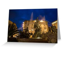 Syracuse, Sicily Blue Hour - Fountain of Diana on Piazza Archimede Greeting Card