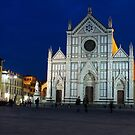 Blue Hour - Santa Croce Church, Florence, Italy by Georgia Mizuleva