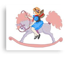 Rocking Horse Girl Canvas Print