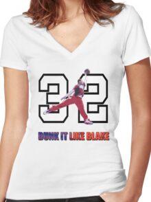 """Dunk It Like Blake"" Women's Fitted V-Neck T-Shirt"