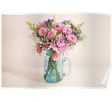 Bouquet of flowers in a teal mason jar Poster
