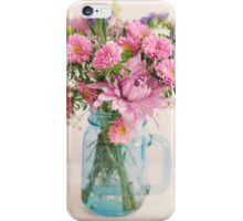 Bouquet of flowers in a teal mason jar iPhone Case/Skin