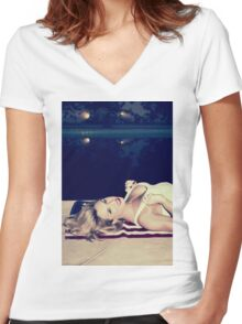 American Blonde Beauty 9294 Women's Fitted V-Neck T-Shirt