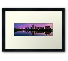 Austin , Texas Skyline with Brilliant Colorful Reflection Framed Print
