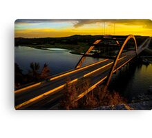 360 Bridge or Pennybacker At Sunset with Golden Highlights Canvas Print