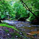 Mountain River Bend Watercolor by Lisa Taylor