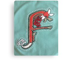 Celtic Fox letter F Embroidery Canvas Print