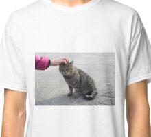 Female hand closeup petting stray gray cat Classic T-Shirt