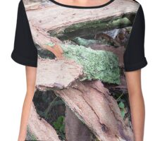Pile of old tattered bark covered with moss Chiffon Top