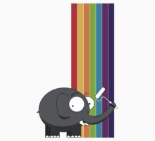 Rainbow elephant One Piece - Short Sleeve