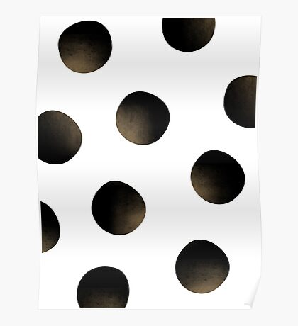 Gold Dusted Black Polka Dots Poster