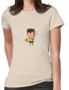 hipster  character with skateboard , listening music Womens Fitted T-Shirt