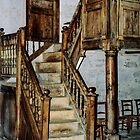 Steps to gallery in church Abbey Dore England 198405170068  by Fred Mitchell