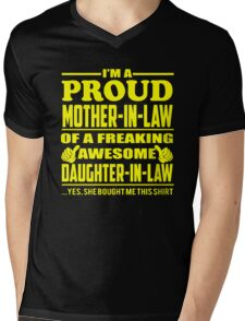 Proud MOTHER IN LAW Of Awesome Daughter In Law Mens V-Neck T-Shirt