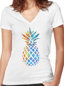 Rainbow Watercolor Pineapple Women's Fitted V-Neck T-Shirt