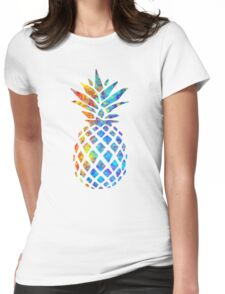 Rainbow Watercolor Pineapple Womens Fitted T-Shirt