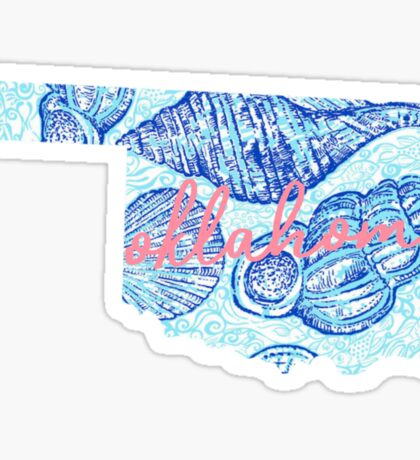 Seashell Script Oklahoma Sticker