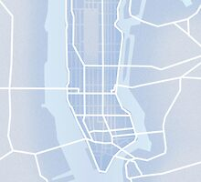 New York City Map Abstract Blue  by Huw Lambert