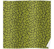 Simple doodle green pattern. Abstract seamless background. Nature wallpaper.  Poster