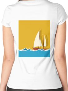 Sailing boat background Women's Fitted Scoop T-Shirt