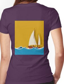 Sailing boat background Womens Fitted T-Shirt