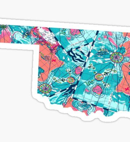 Watercolor Mapped Oklahoma Sticker
