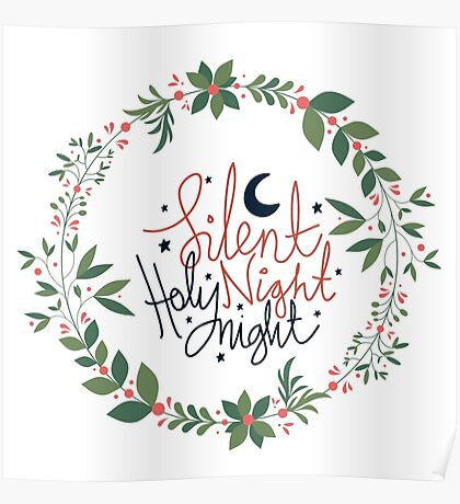 Silent Night, Holy Night Floral Wreath Poster