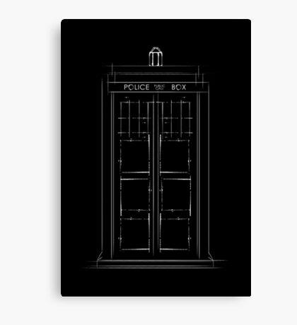 Doctor Who, Tardis (B&W) Canvas Print