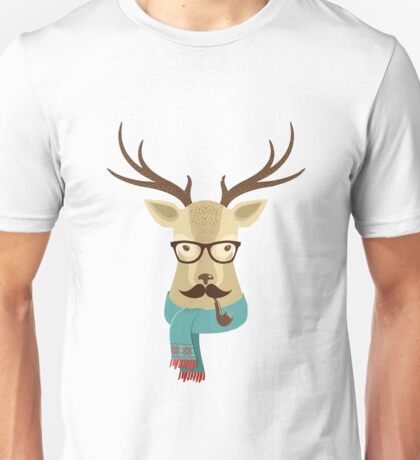 Hipster deer with glasses and scarf Unisex T-Shirt