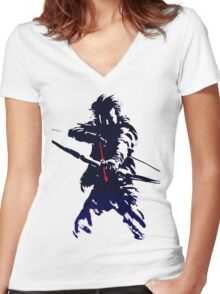blue arrow Women's Fitted V-Neck T-Shirt