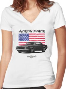 Chevrolet Camaro '1968 (black) Women's Fitted V-Neck T-Shirt
