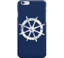Steering Wheel Vintage Sailing Design (White) iPhone Case/Skin