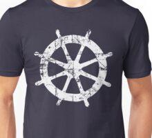 Steering Wheel Vintage Sailing Design (White) Unisex T-Shirt