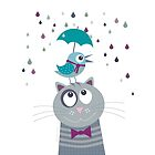 Birdy and cat love rainy day by lespetitsbutton