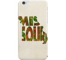 Missouri Typographic Watercolor Map iPhone Case/Skin