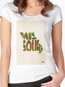 Missouri Typographic Watercolor Map Women's Fitted Scoop T-Shirt