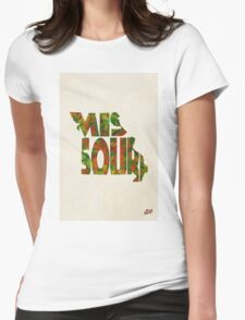 Missouri Typographic Watercolor Map Womens Fitted T-Shirt