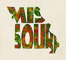 Missouri Typographic Watercolor Map by A. TW