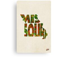 Missouri Typographic Watercolor Map Canvas Print