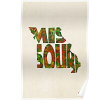 Missouri Typographic Watercolor Map Poster