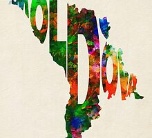 Moldova Typographic Watercolor Map by A. TW
