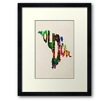 Moldova Typographic Watercolor Map Framed Print