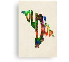 Moldova Typographic Watercolor Map Canvas Print